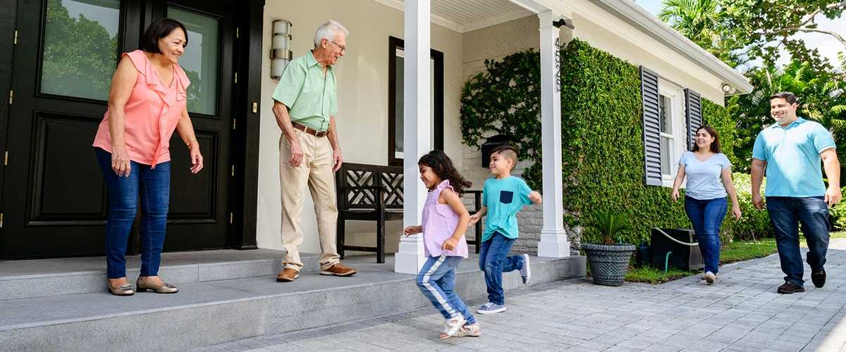 grandparents welcoming family home.